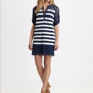 BCBGMAXAZARIA blue and white striped lace dress